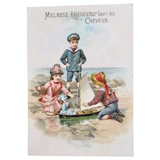 Antique French Lithograph Trade Card, Children and Doll In Toy Boat, Circa Early 1900s