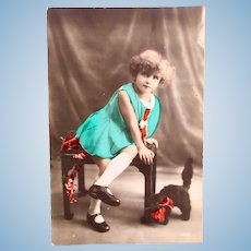 French Tinted Real Photo Postcard, Girl and Black Cat, Dated 1931