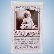 British Real Photo Postcard, Girl Holding Baby Doll, Circa 1920s