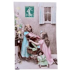 Tinted French Real Photo Postcard, 2 Girls, 2 Dolls and Christmas Tree, Dated 1908