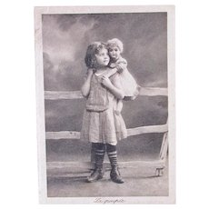 French Real Photo Trade Card, Girl and Doll, Circa 1905