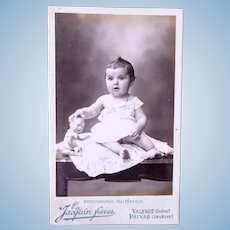 French Carte de Visite Photograph, Baby Girl With Baby Doll, Circa Early 1900s