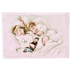 Antique French Lithograph Trade Card, Sleeping Children, Doll & Toy, Circa Late 1800s