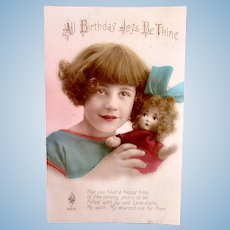 Tinted French Real Photo Postcard, Flapper Girl and Doll, Circa 1920s