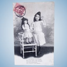 French Real Photo Postcard, Girl & Doll, The Doll's Sermon #3, 1905