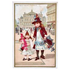 French Chromo Litho Trade Card, 2 Girls and Doll, L'Opéra