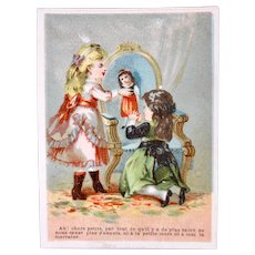 Antique French Lithograph Trade Card, 2 Girls and Doll, Circa 19th Century