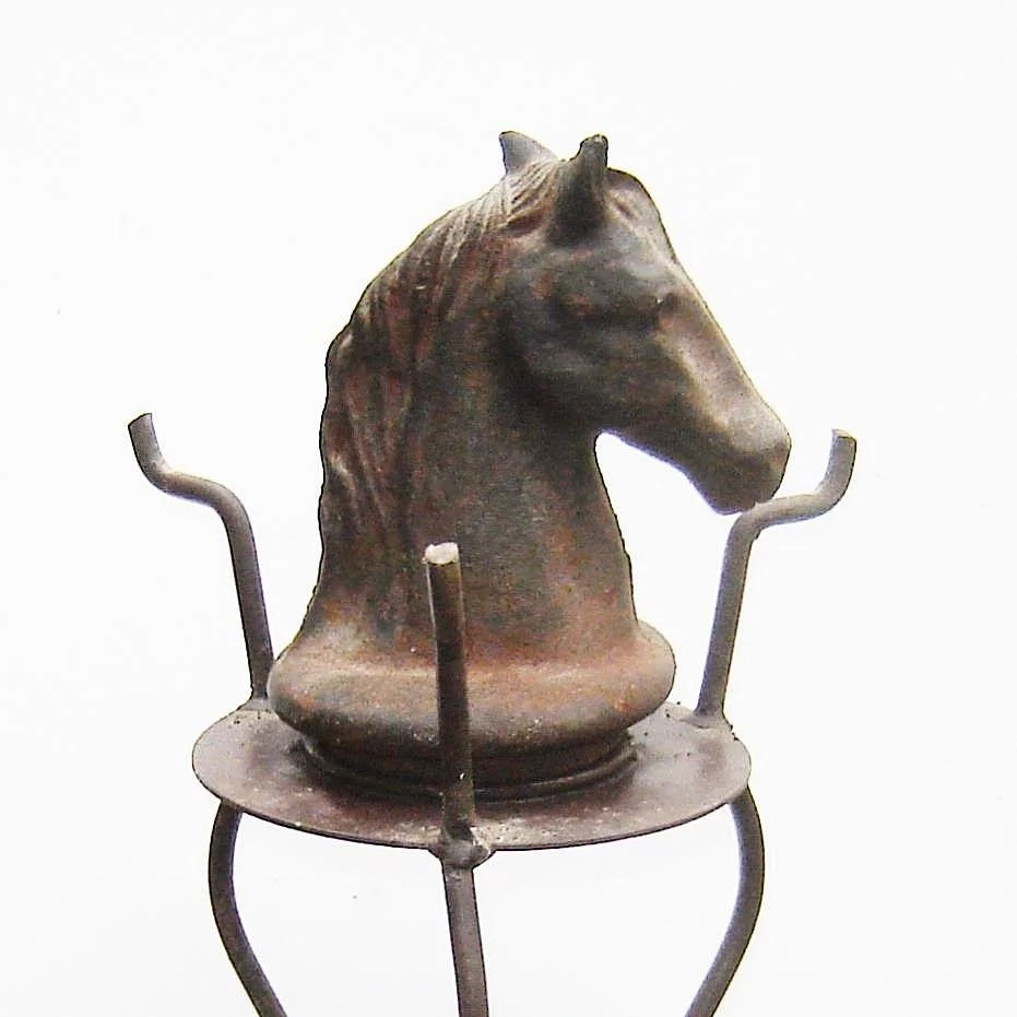 Antique Cast Iron Horse Head Finial And Stand The