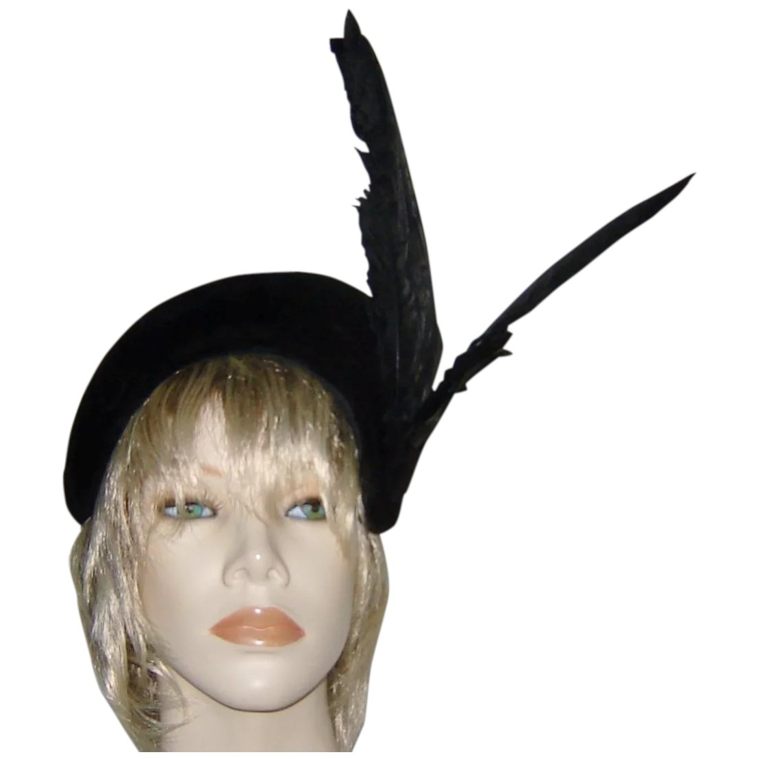 Vintage 1940s Italy Black Fascinator Hat Feathers. Click to expand 48233e45fe8