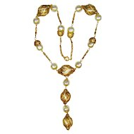 Vintage Victorian Style Necklace Fx Pearl Golden Filigree Cages