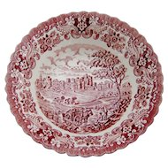 Old Country Castles Pink Red Transferware Bowl England