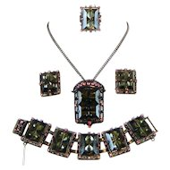 Sarah Coventry Midnight Magic Set Ring Bracelet Brooch Pendant Necklace Earrings