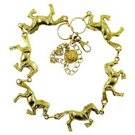 Vintage Horse Necklace Belt Gold Tone Jumpers