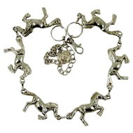 Vintage Silver Horse Necklace Equine Belt