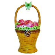 Limoges Rose Basket Trinket Box