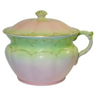 Fielding Victorian Chamber Pot With Lid Pink Green England