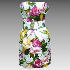 Vintage Oscar de la Renta Dress Floral Silk Satin