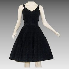 Vintage 1950s Party Dress Black Embroidered Taffeta Perlberg