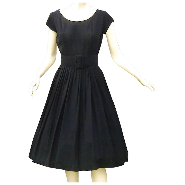 Vintage 1950s black lace dress with pleated cap sleeve front pleated skirt detail ruched at bust belted