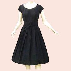 Vintage 1950s Black Dress Full Skirt Wide Belt
