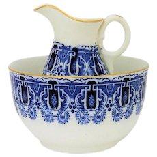 Antique English Flow Blue Bowl Pitcher Gilt Trim Breakfast Set