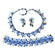 Vintage Kramer Necklace Bracelet Earrings Blue Rhinestone Crystal Dangles Set