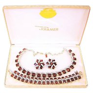 Vintage Kramer Topaz Rhinestones Necklace Bracelet Earrings Box