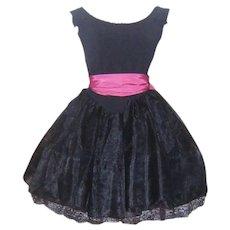 Vintage Black Betsey Johnson Party Dress Punk Label