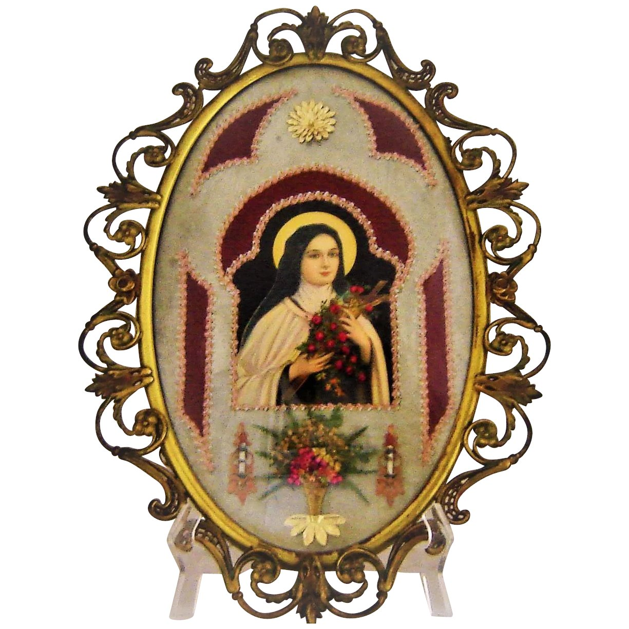 Vintage st theresa bubble glass brass frame embellished print vintage st theresa bubble glass brass frame embellished print click to expand jeuxipadfo Image collections