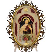 Vintage St Theresa Bubble Glass Brass Frame Embellished Print