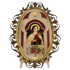 Vintage St Theresa Bubble Glass Brass Frame Embellished Print