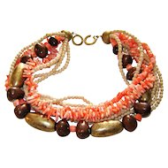 Vintage Les Bernard Necklace Faux Coral, Wood Beads Multi Strand