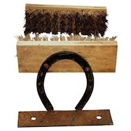 Vintage Farmhouse Horseshoe Boot Brush Rusty Iron Aged