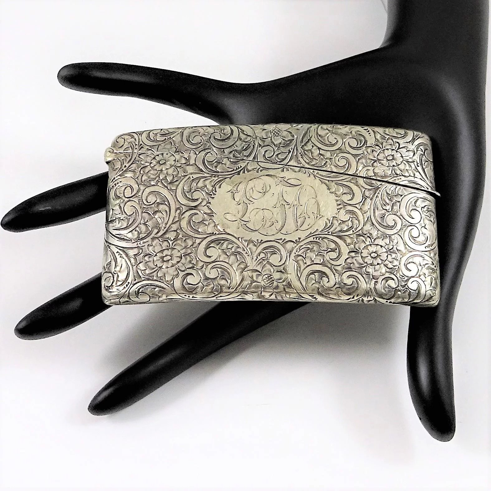 Art Nouveau Sterling Card Case Engraved Curved The