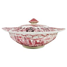 Olde Country Castles Red Transferware Covered Vegetable Tureen England