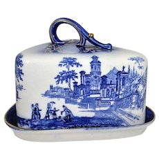 Staffordshire Flow Blue Cheese Dish Cover