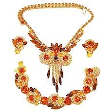 Vintage Juliana Owl Necklace Bracelet Earrings Book Set