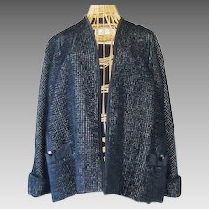 Vintage Designer Black Chenille Swing Coat Jacket Hess Seymour Fox