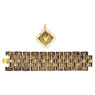 Vintage 1940s Damascene Bracelet Pendant Arabesque Dragon