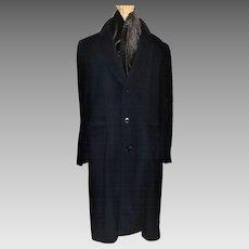 Vintage Men's Bill Blass Navy Wool Overcoat Saks Fifth Ave