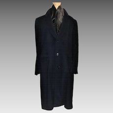 Vintage Men's Bill Blass Navy Wool Overcoat Saks Fifth Ave