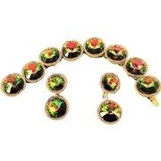Vintage Vendome Watermelon Bracelet Earrings Rivoli Rhinestone Book Set