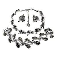 Vintage Rousseau Black Diamond Rhinestone Necklace Bracelet Earring Set
