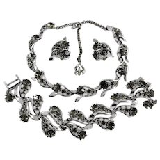 Vintage Rousseau Black Diamond Rhinestone Necklace Bracelet Earring Set