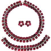 Vintage Trifari Sterling Necklace Bracelet Ruby Red Rhinestone Book Set Ad