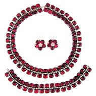 Vintage Trifari Sterling Silver Necklace Bracelet Ruby Red Rhinestone Book Set Ad