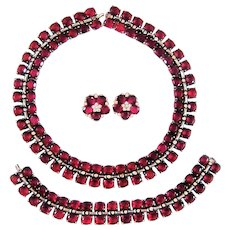 Vintage Trifari Sterling Silver Necklace Bracelet Ruby Red Rhinestone Book Set Ad