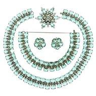 Vintage Trifari Sterling Silver Necklace Bracelet Brooch Earrings Aquamarine Rhinestone Book AD Set