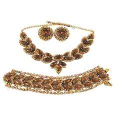 Vintage Kramer Necklace Bracelet Earrings Topaz Rhinestone AB Netted Set Book