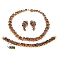 Vintage Kramer Net Rhinestone Necklace Bracelet Earrings Book Set